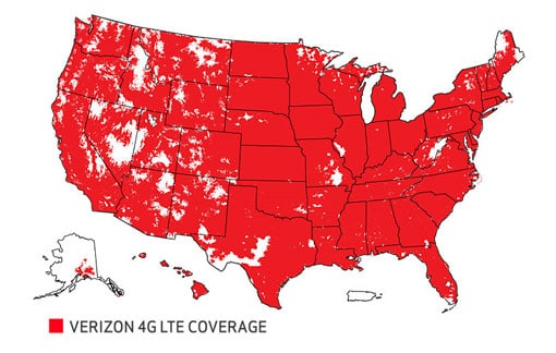Map of United States full of red spots, depicting Verizon's 4G LTE coverage.