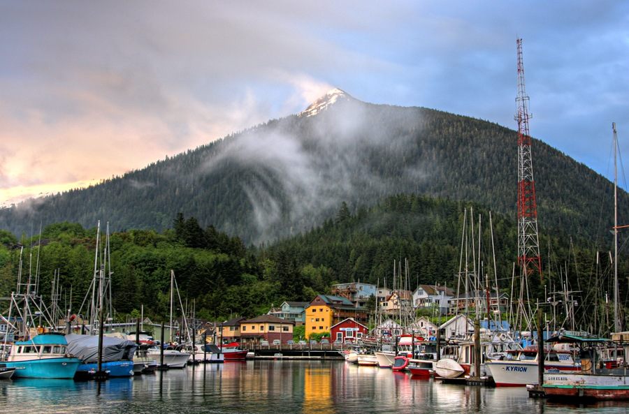 Ketchikan docks with Deer Mountain in backdrop.