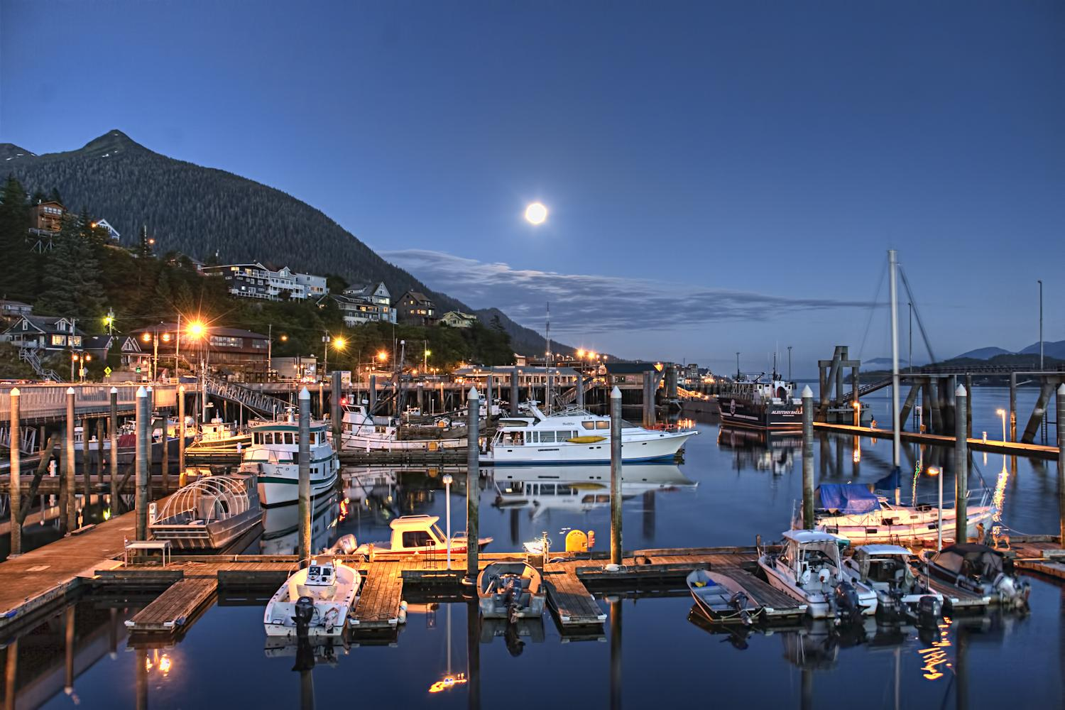 Deer Harbor on a full-moon night.