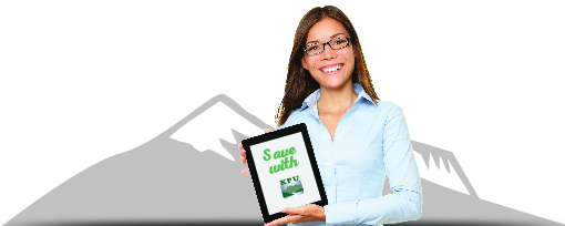 """Woman holds tablet with text on screen: """"Save with KPU."""""""